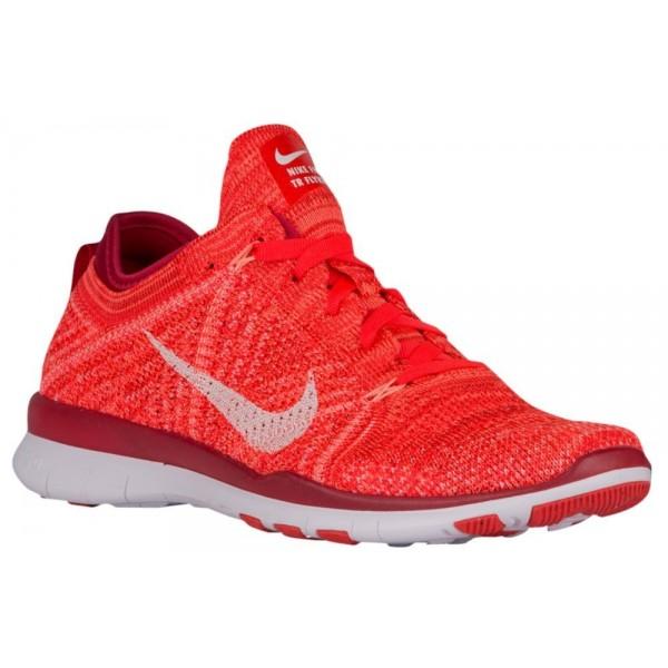 Nike Free TR 5 Flyknit Damen-Trainingsschuh Bright Crimson/Weiß