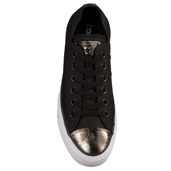 Converse All Star Brush Off Leather Toecap Ox Damen-Basketballschuh Schwarz/Pure Silber/Weiß